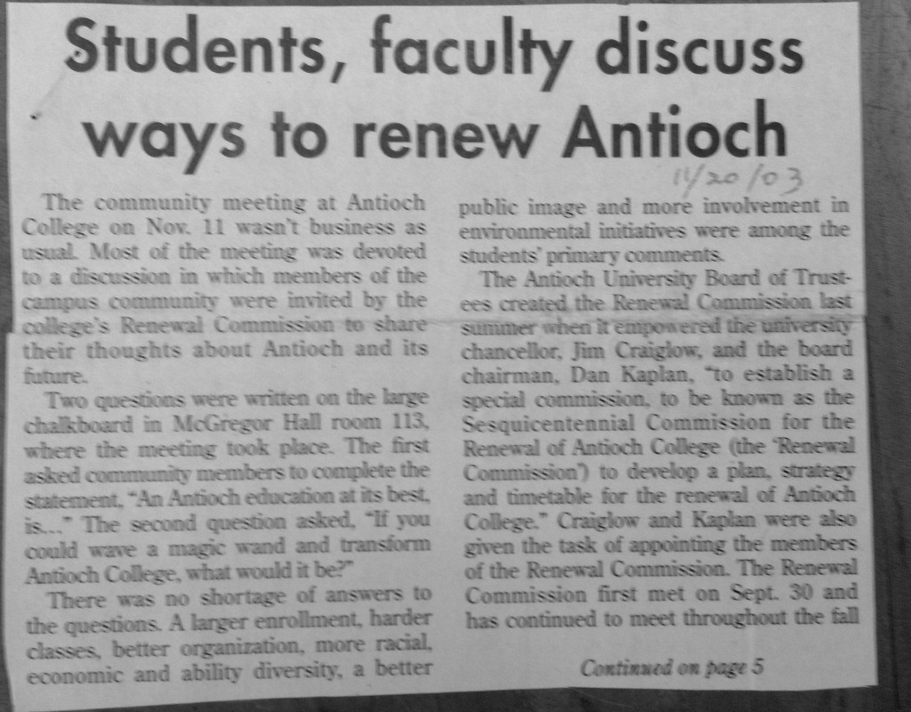 The school newspaper on community reaction to the Renewal Plan.