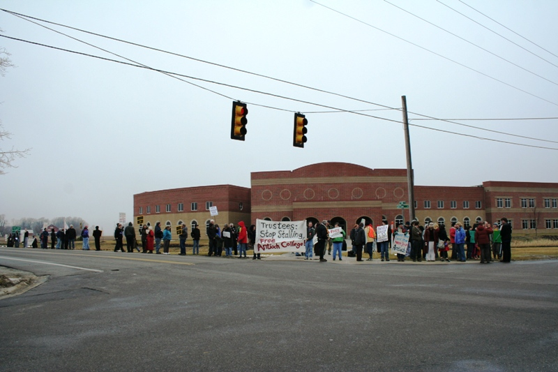 "Antioch McGregor's (now Antioch Midwest) ""Campus West,"" an ugly, isolated building protested by college supporters."